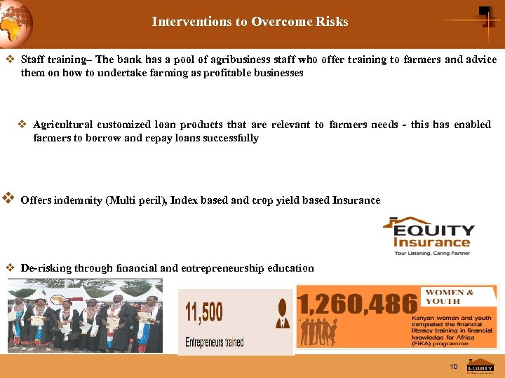 Interventions to Overcome Risks v Staff training– The bank has a pool of agribusiness
