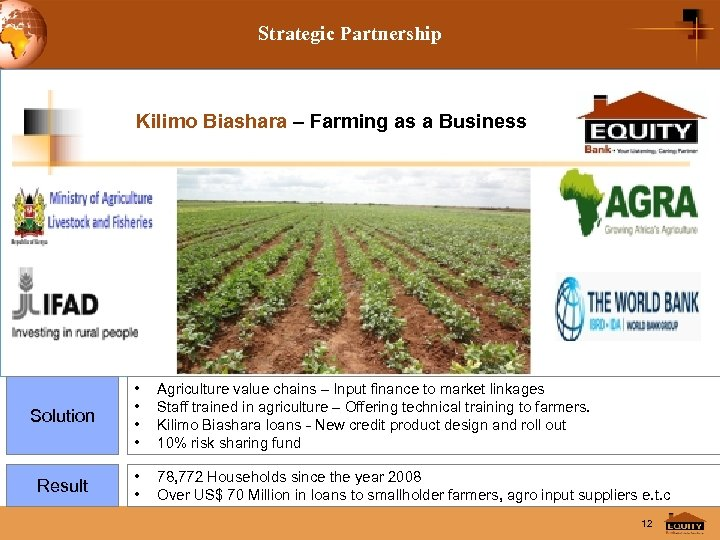 Strategic Partnership Kilimo Biashara – Farming as a Business Solution • • Agriculture value