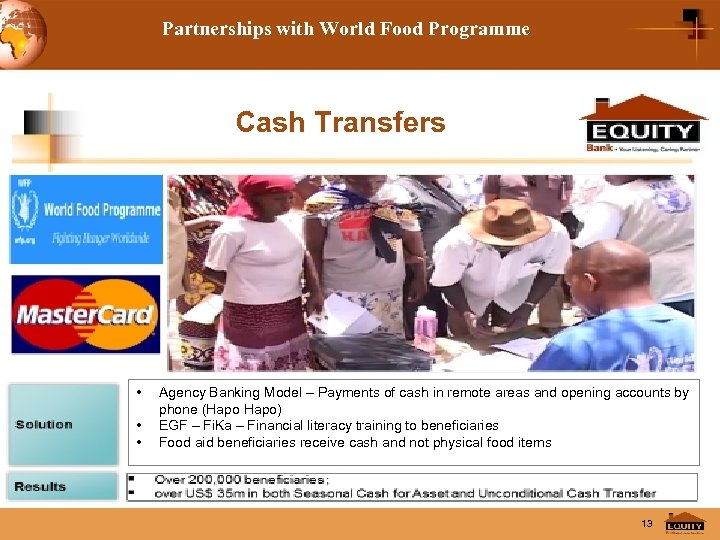 Partnerships with World Food Programme Cash Transfers • • • Agency Banking Model –