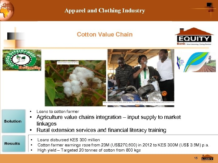 Apparel and Clothing Industry Cotton Value Chain • Loans to cotton farmer • Agriculture