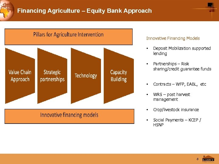 Financing Agriculture – Equity Bank Approach Innovative Financing Models • Deposit Mobilization supported lending
