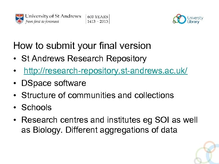 How to submit your final version • • • St Andrews Research Repository http: