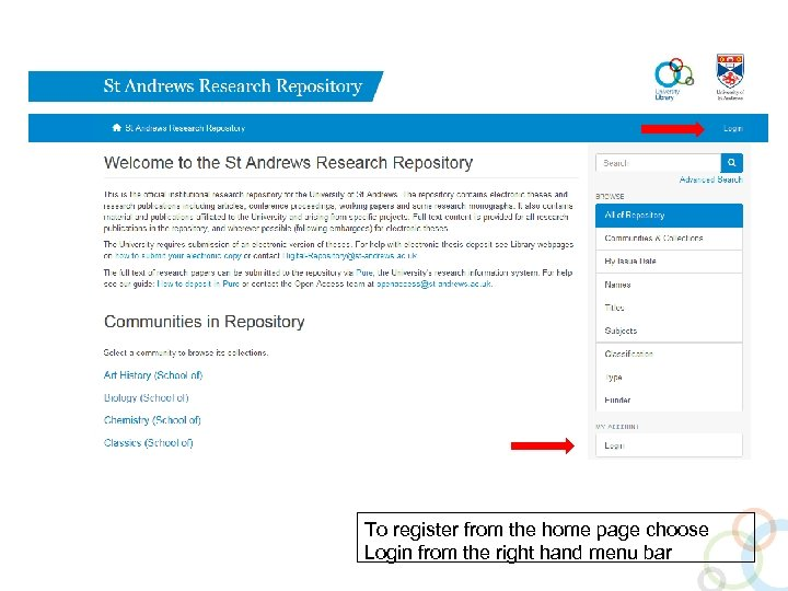 To register from the home page choose Login from the right hand menu bar