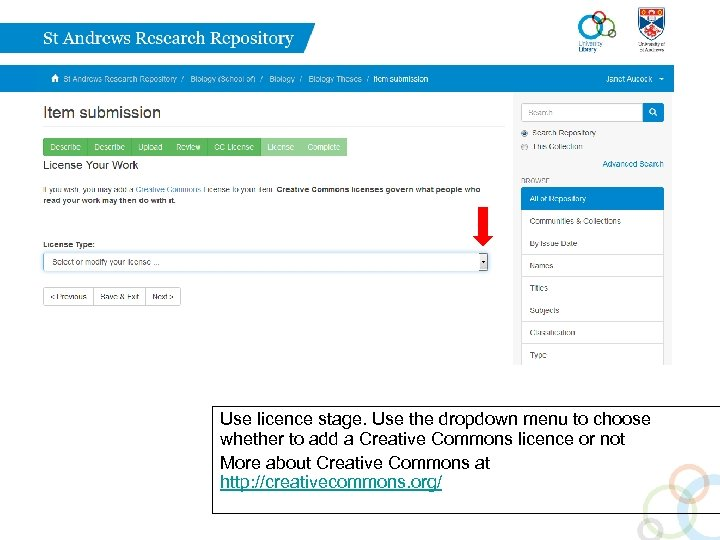 Use licence stage. Use the dropdown menu to choose whether to add a Creative