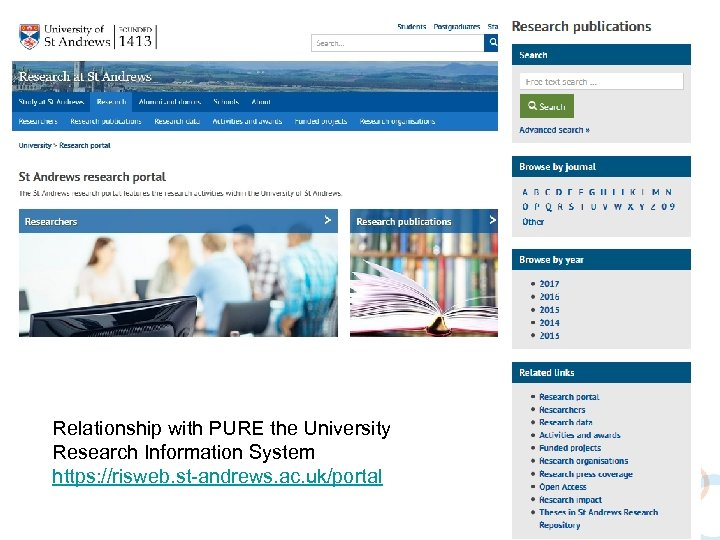 Relationship with PURE the University Research Information System https: //risweb. st-andrews. ac. uk/portal
