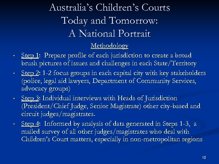 Australia's Children's Courts Today and Tomorrow: A National Portrait • • Methodology Step 1: