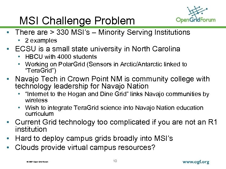 MSI Challenge Problem • There are > 330 MSI's – Minority Serving Institutions •
