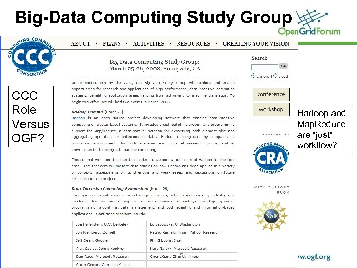 Big-Data Computing Study Group CCC Role Versus OGF? © 2007 Open Grid Forum Hadoop