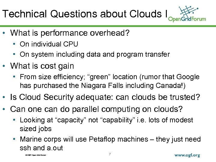 Technical Questions about Clouds I • What is performance overhead? • On individual CPU