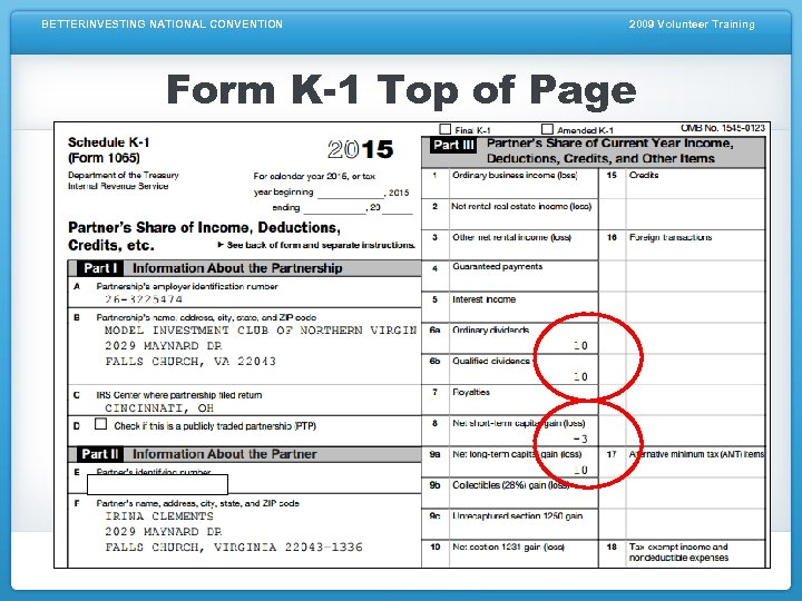 BETTERINVESTING NATIONAL CONVENTION 2009 Volunteer Training Form K-1 Top of Page