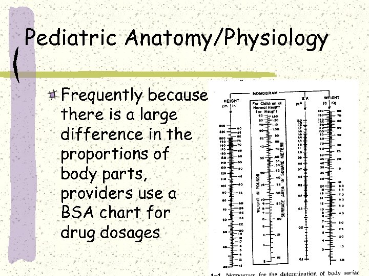Pediatric Anatomy/Physiology Frequently because there is a large difference in the proportions of body