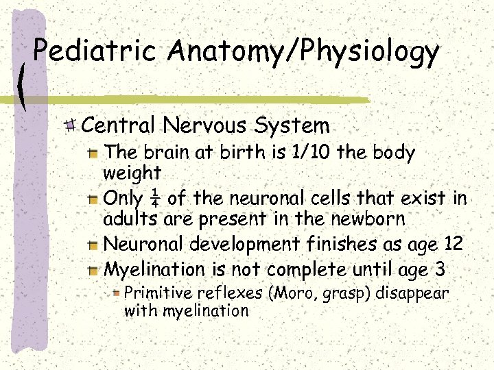 Pediatric Anatomy/Physiology Central Nervous System The brain at birth is 1/10 the body weight