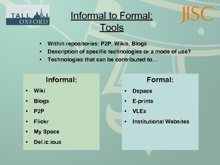 Informal to Formal: Tools • • • Within repositories: P 2 P, Wikis, Blogs