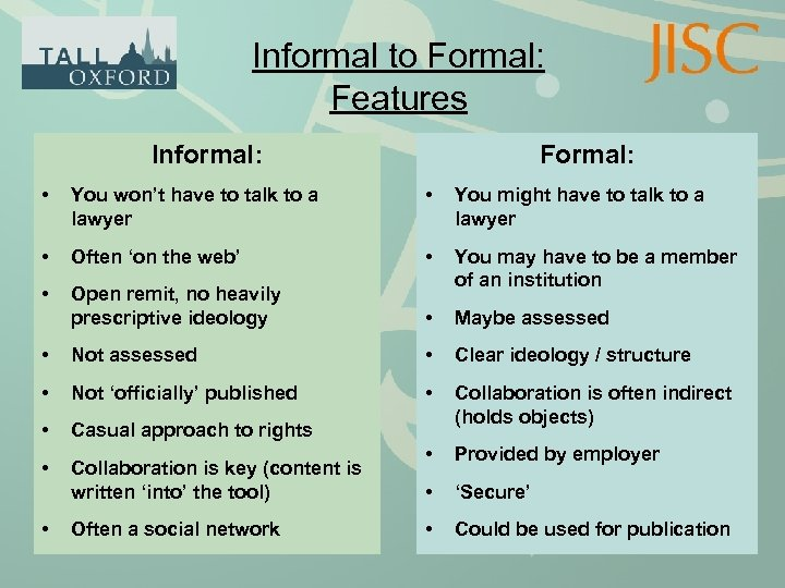 Informal to Formal: Features Informal: Formal: • You won't have to talk to a