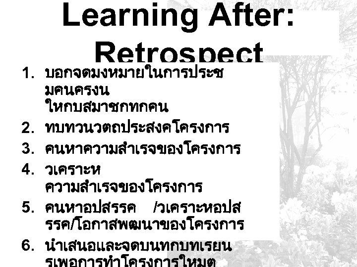 1. 2. 3. 4. 5. 6. Learning After: Retrospect บอกจดมงหมายในการประช มคนครงน ใหกบสมาชกทกคน ทบทวนวตถประสงคโครงการ คนหาความสำเรจของโครงการ