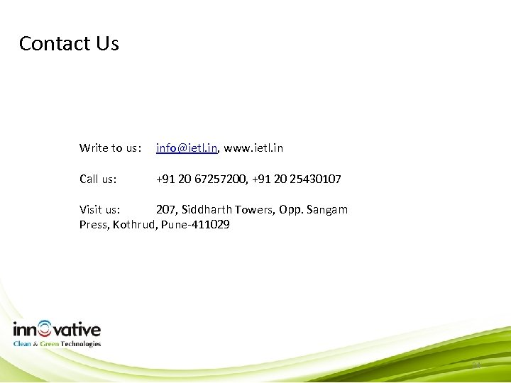 Contact Us Write to us: info@ietl. in, www. ietl. in Call us: +91 20