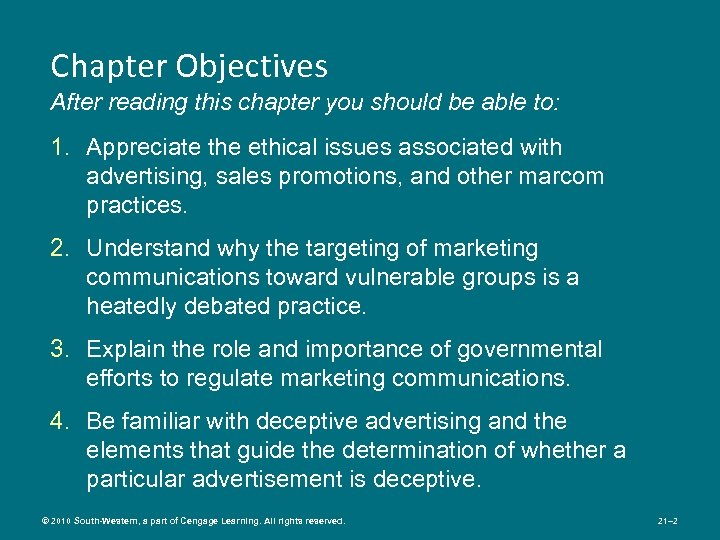 Chapter Objectives After reading this chapter you should be able to: 1. Appreciate the