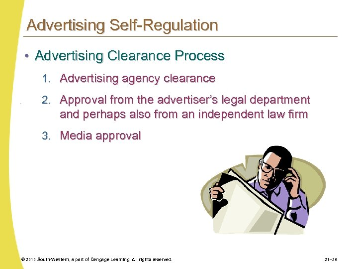 Advertising Self-Regulation • Advertising Clearance Process 1. Advertising agency clearance 2. Approval from the