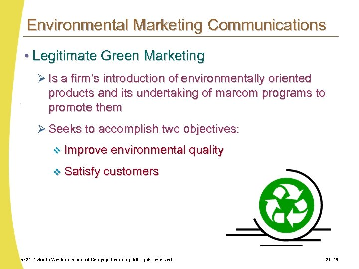 Environmental Marketing Communications • Legitimate Green Marketing Ø Is a firm's introduction of environmentally