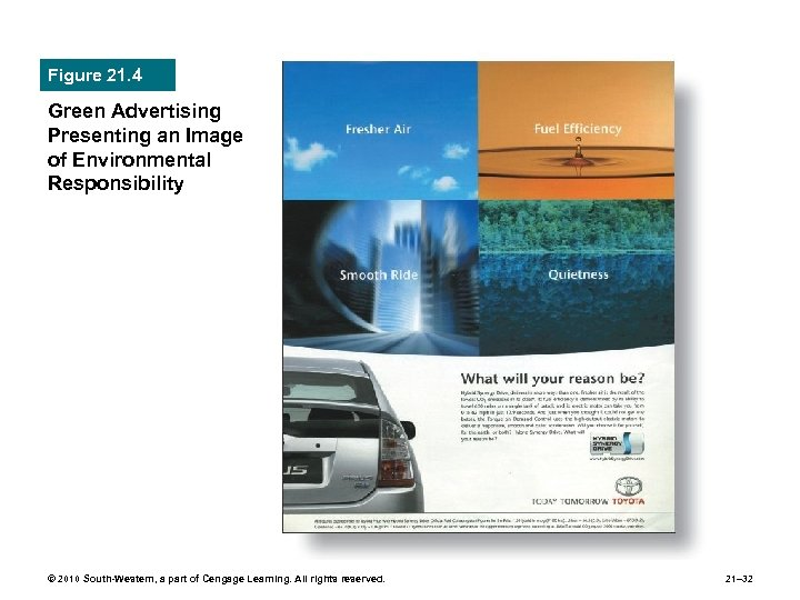 Figure 21. 4 Green Advertising Presenting an Image of Environmental Responsibility © 2010 South-Western,