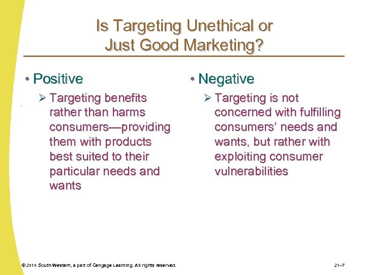 Is Targeting Unethical or Just Good Marketing? • Positive Ø Targeting benefits rather than