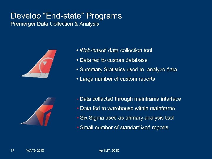 """Develop """"End-state"""" Programs Premerger Data Collection & Analysis • Web-based data collection tool •"""