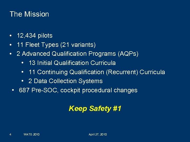 The Mission • 12, 434 pilots • 11 Fleet Types (21 variants) • 2