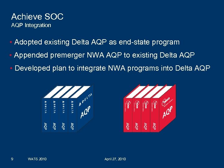 Achieve SOC AQP Integration • Adopted existing Delta AQP as end-state program • Appended
