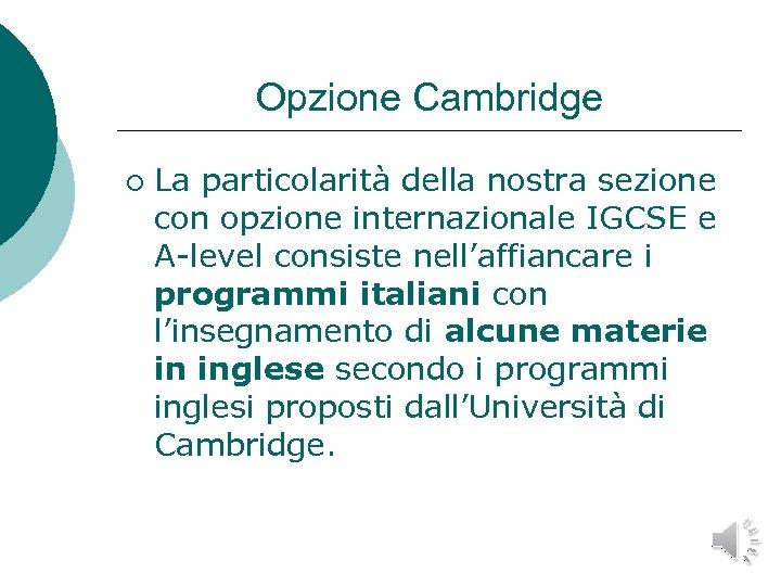 Opzione Cambridge ¡ La particolarità della nostra sezione con opzione internazionale IGCSE e A-level