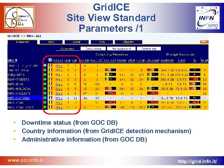 Grid. ICE Site View Standard Parameters /1 • Downtime status (from GOC DB) •