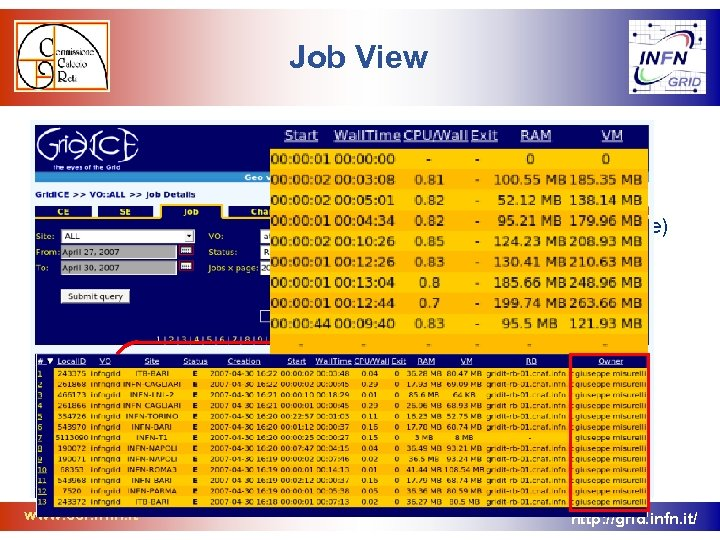 Job View • Job section to track VO users activity in order to: –