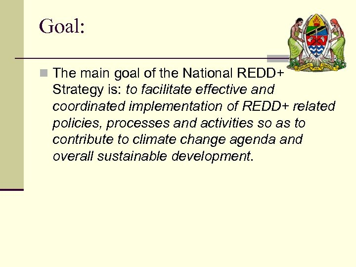 Goal: n The main goal of the National REDD+ Strategy is: to facilitate effective