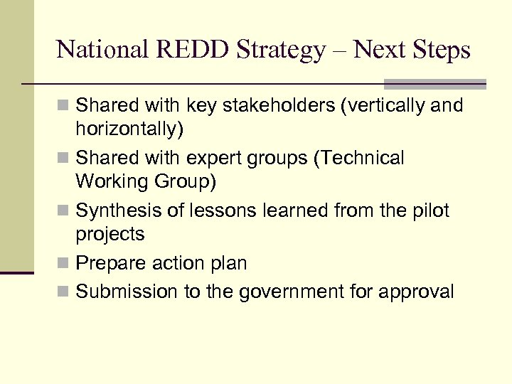 National REDD Strategy – Next Steps n Shared with key stakeholders (vertically and horizontally)