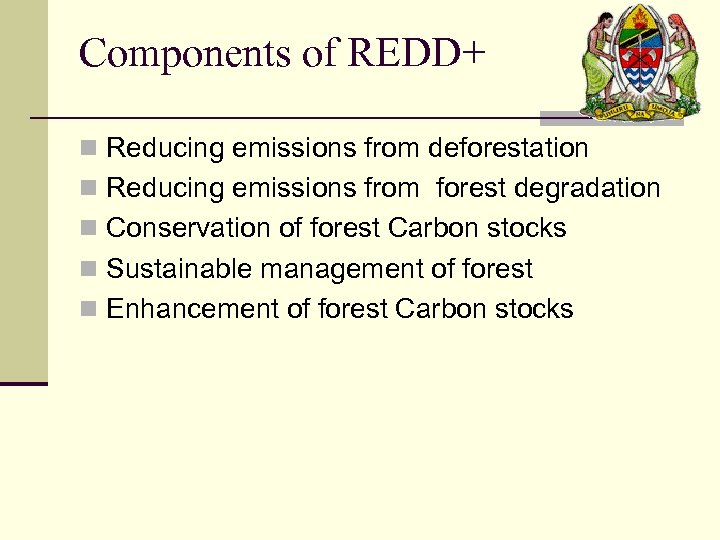 Components of REDD+ n Reducing emissions from deforestation n Reducing emissions from forest degradation