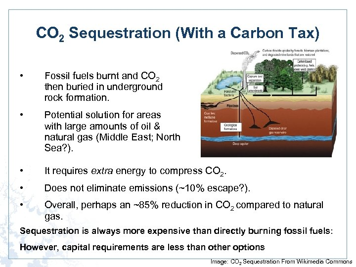 CO 2 Sequestration (With a Carbon Tax) • Fossil fuels burnt and CO 2