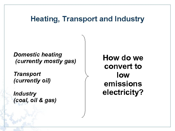 Heating, Transport and Industry Domestic heating (currently mostly gas) Transport (currently oil) Industry (coal,