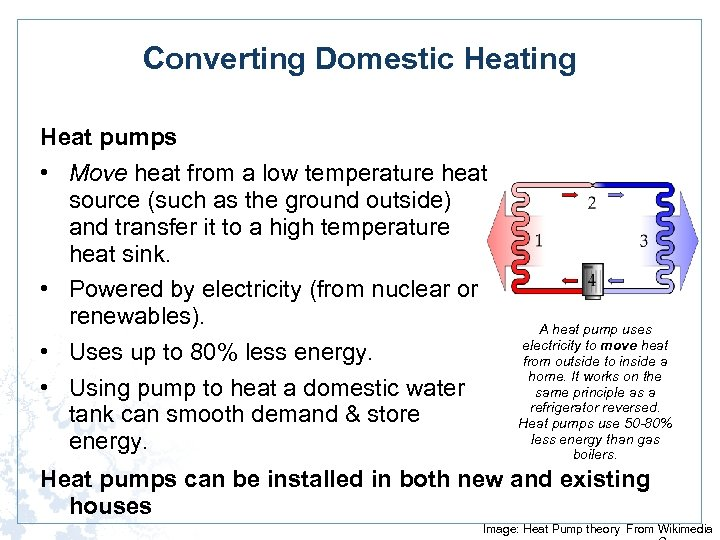 Converting Domestic Heating Heat pumps • Move heat from a low temperature heat source