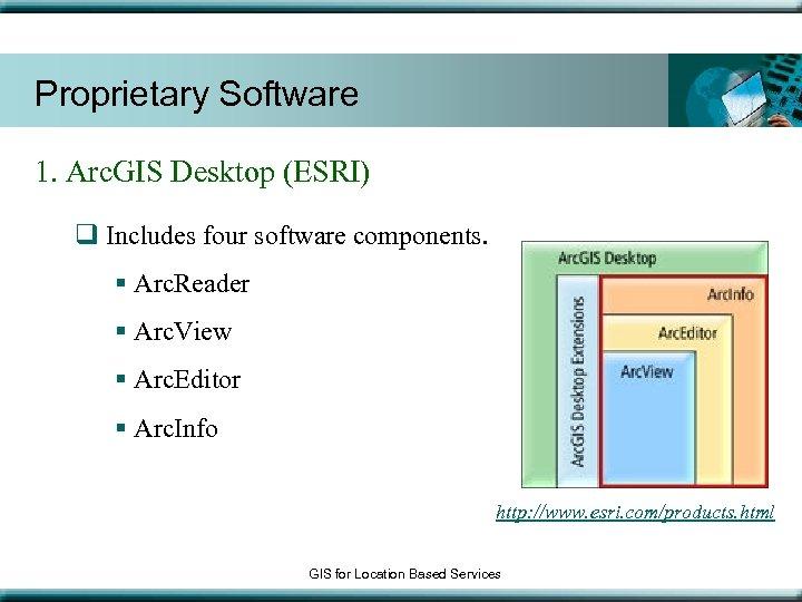 Proprietary Software 1. Arc. GIS Desktop (ESRI) q Includes four software components. § Arc.