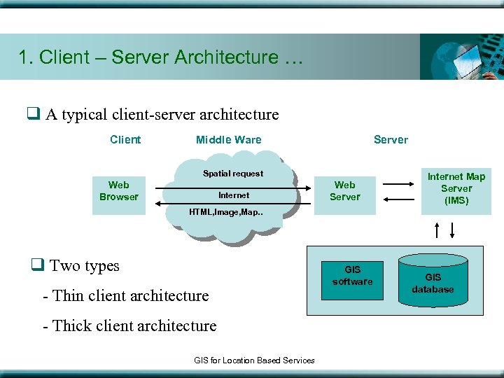 1. Client – Server Architecture … q A typical client-server architecture Client Server Middle