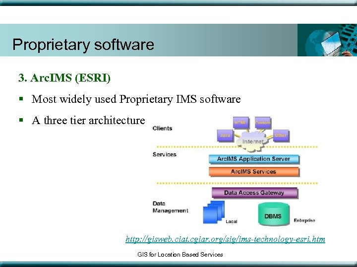Proprietary software 3. Arc. IMS (ESRI) § Most widely used Proprietary IMS software §