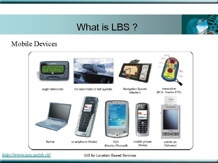 What is LBS ? Mobile Devices http: //www. geo. unizh. ch/ GIS for Location