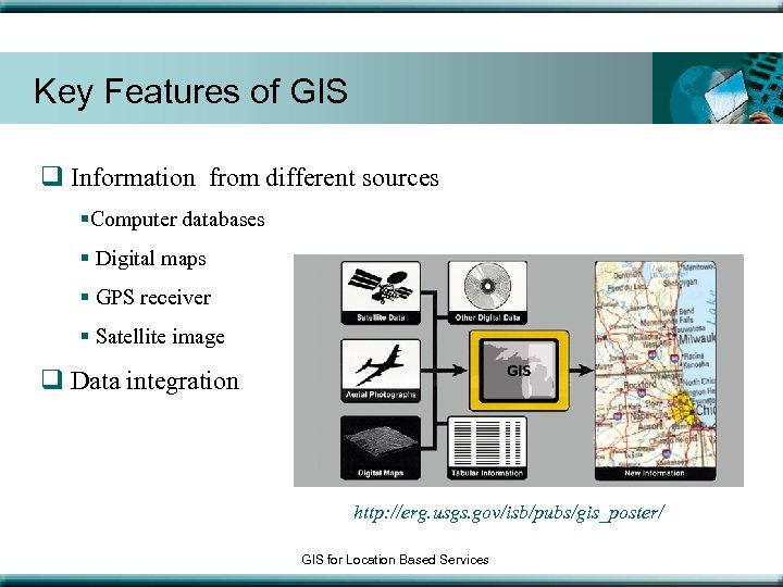 Key Features of GIS q Information from different sources §Computer databases § Digital maps