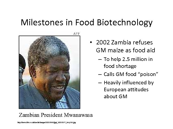 Milestones in Food Biotechnology • 2002 Zambia refuses GM maize as food aid –
