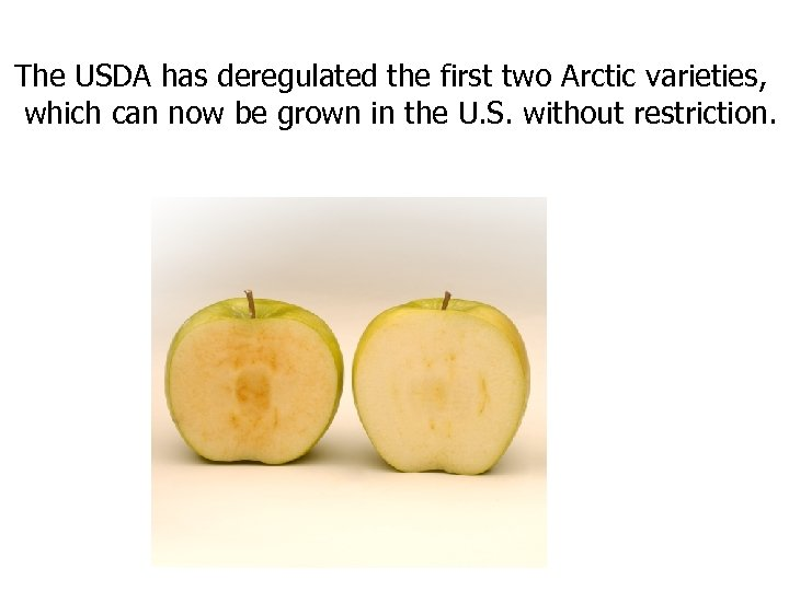 The USDA has deregulated the first two Arctic varieties, which can now be grown