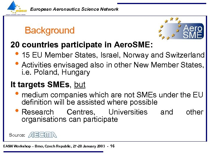 European Aeronautics Science Network Background 20 countries participate in Aero. SME: • 15 EU