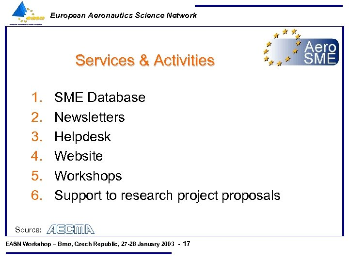 European Aeronautics Science Network Services & Activities 1. 2. 3. 4. 5. 6. SME