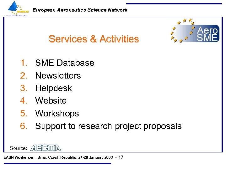 European Aeronautics Science Network Services & Activities 1. 2. 3. 4. 5. 6. SME
