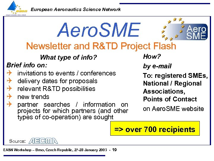 European Aeronautics Science Network Aero. SME Newsletter and R&TD Project Flash What type of