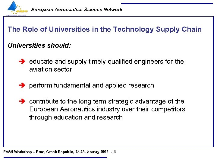 European Aeronautics Science Network The Role of Universities in the Technology Supply Chain Universities