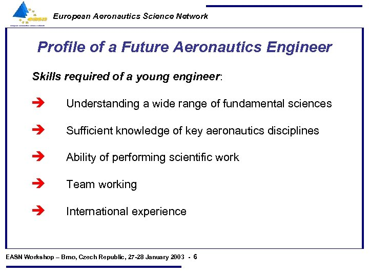 European Aeronautics Science Network Profile of a Future Aeronautics Engineer Skills required of a